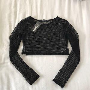 Masie mesh long sleeve crop top